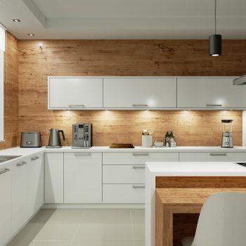 Iluminação na cozinha à noite