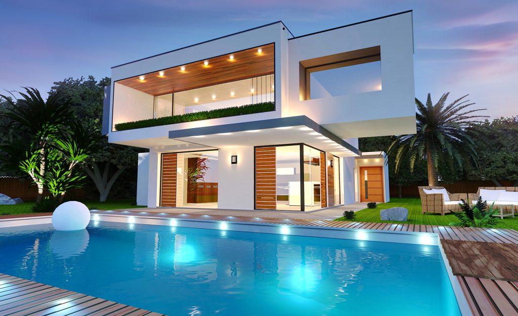 Casa moderna com piscina e ilumina o for Casa moderna tunisie