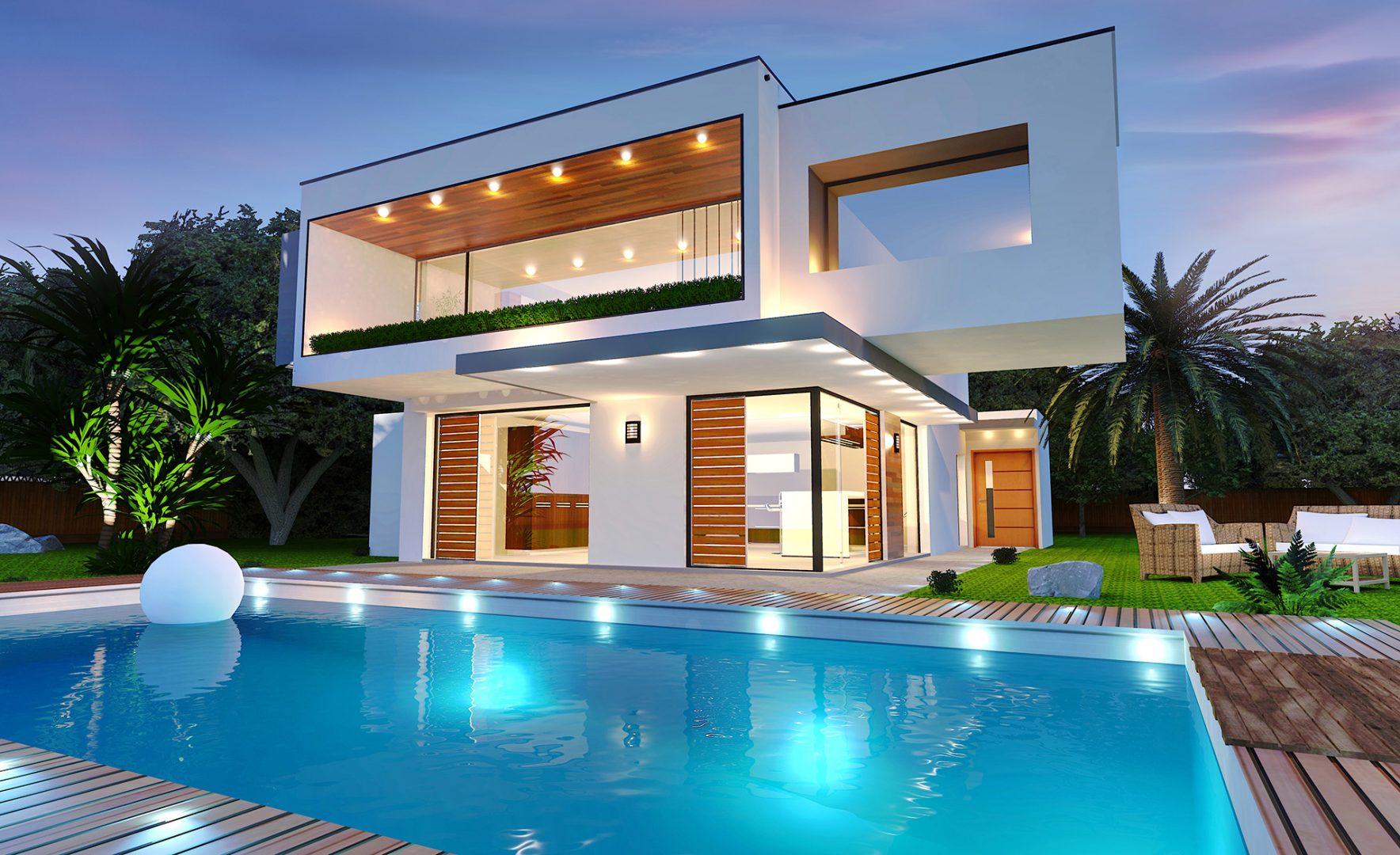 casa moderna com piscina e iluminação