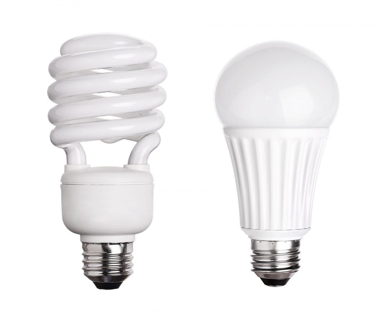 conjunto de lâmpada fluorescente CFL LED isolado no fundo branco